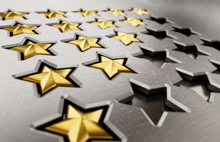 Rating stars table with 5.4,3,2.1 stars. 3D illustration. Stockfoto