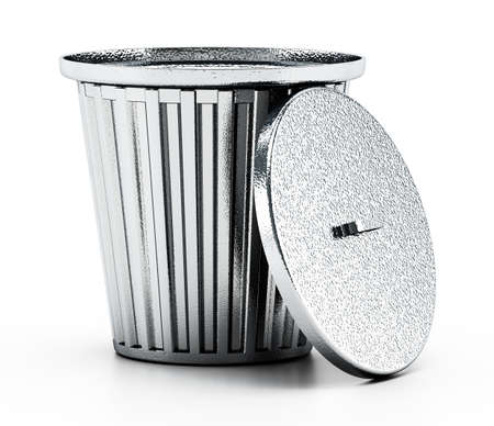 Steel trash can isolated on white background. 3D illustration. Stockfoto