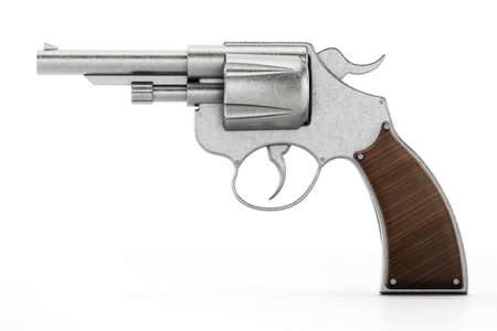 Generic revolver and bullets with soft reflection. 3D illustration.