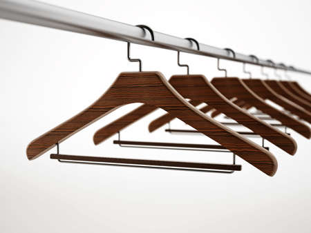 Clothes-hangers isolated on white background. 3D illustration.
