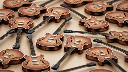 Vintage electric guitar background. 3D illustration. Stockfoto