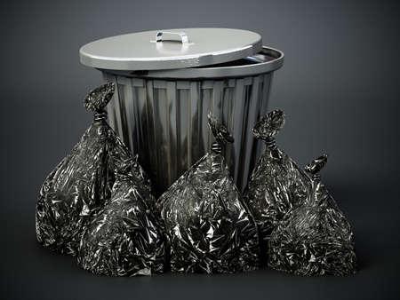 Garbage bags around the metal trashcan. 3D illustration.