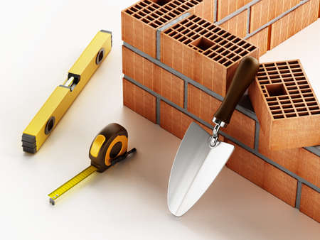 Laid bricks and construction tools isolated on white background. 3D illustration.