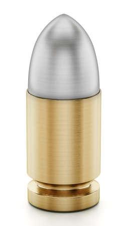 Generic bullet isolated on white background. 3D illustration.