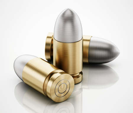 Generic bullets isolated on white background. 3D illustration.