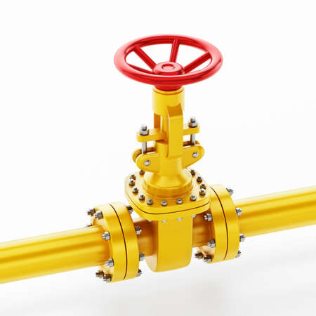 Yellow oil pipe with valve isolated on white background. 3D illustration.