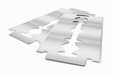 Razor blades isolated on white background. 3D illustration.