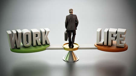 Work and life balance scale with businessman at the center. 3D illustration.
