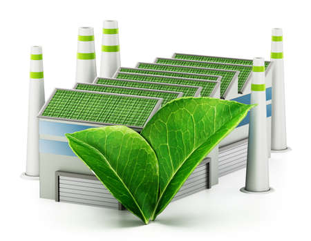 Ecological factory isolated on white background. 3D illustration.