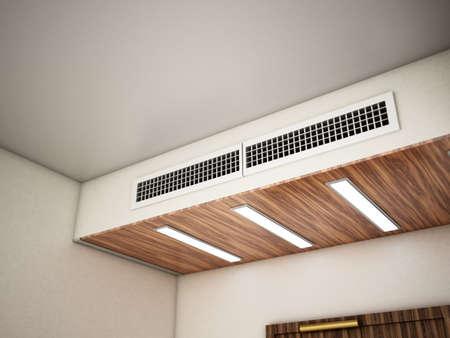 Hotel room air ventilation grill on the wall. 3D illustration. Stockfoto