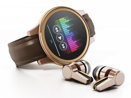 Generic smartwatch and wireless earphones. 3D illustration.