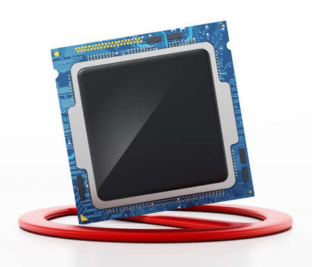 Microprocessor and forbidden sign. Global computer chip shortage concept. 3D illustration. Stockfoto