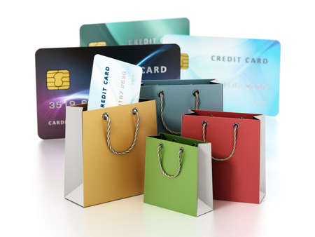 Shopping bags and credit cards isolated on white background. 3D illustration. Stockfoto