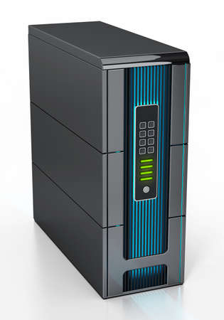 Generic network server isolated on white background. 3D illustration.
