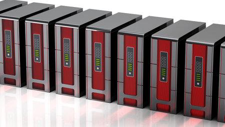 Generic network servers isolated on white background. 3D illustration. Stockfoto
