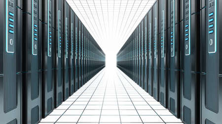 Network servers in a row isolated on white background. 3D illustration.