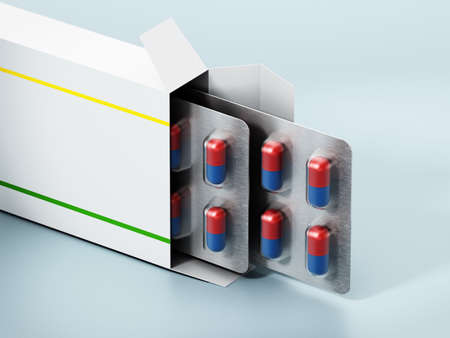Open pill box with capsules isolated on green background. 3D illustration.