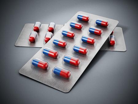 Medicine capsules inside blister packs. 3D illustration.