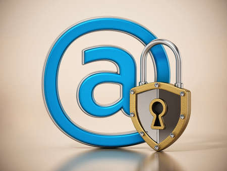 At sign locked with shield shaped. 3D illustration. Stockfoto