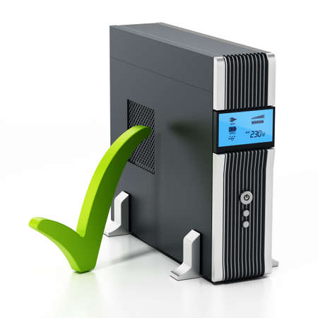 Uninterruptible power supply UPS with green checkmark isolated on white background. 3D illustration. Stockfoto