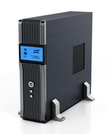 Uninterruptible power supply UPS isolated on white background. 3D illustration.