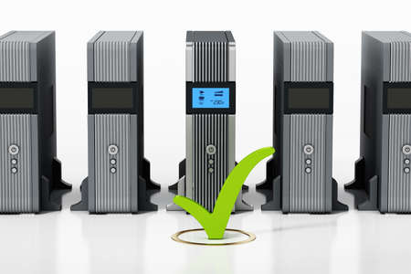 Uninterruptible power supply UPS with green checkmark stands out. 3D illustration.
