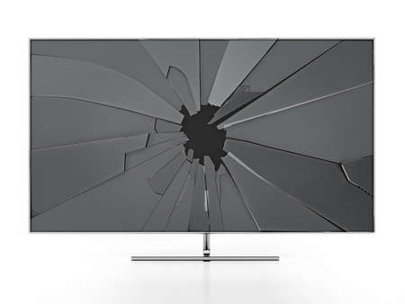 LCD TV with shattered screen isolated on white background. 3D illustration. Stockfoto
