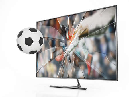 Soccer ball floating out of LCD TV with shattered screen. 3D illustration. Stockfoto
