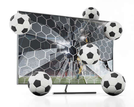 Soccer balls floating out of LCD TV with shattered screen. 3D illustration.