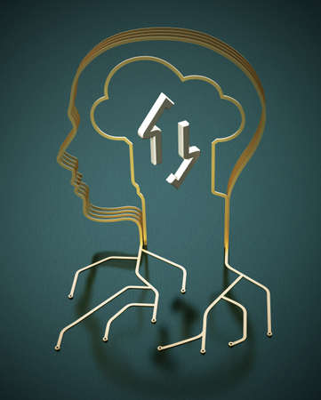 PCB circuit wires forming a head shape. Human and machine interaction concept. 3D illustration.
