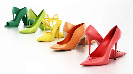 Set of various women's shoes isolated on white background. 3D illustration.