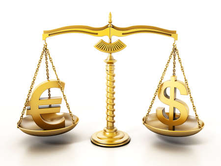 Golden Euro and Dollar signs standing on the scales of a balanced scale. 3D illustration. Stockfoto
