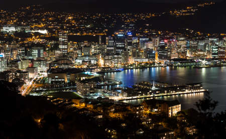 night views: Wellington city harbor aerial view