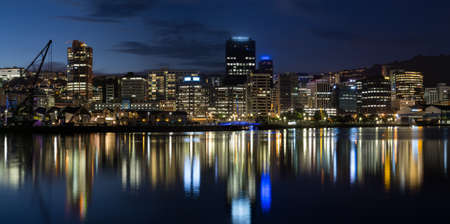 Wellington harbor cityscapes at night after sunset
