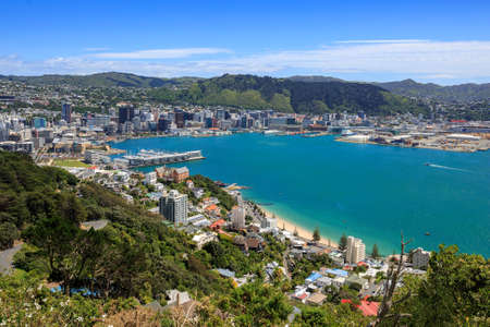 zealand: Wellington City harbor and downtown. Buildings are in central business district.