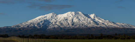 The tourists attraction, Mt.Ruapehu. The ski area open in winter and here is an iconic and tourists destination in The North Island, New Zealand.