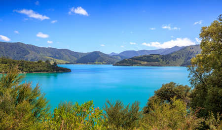 Queens Charlotte Sound mountains and blue sea Banco de Imagens