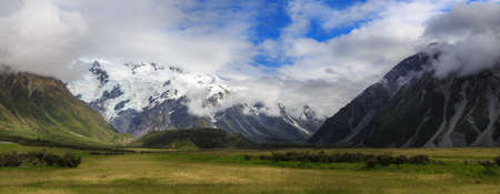 hooker: Hooker Valley and Mount Cook national park. A view of glaciers on the Footstool and Mount Sefton.