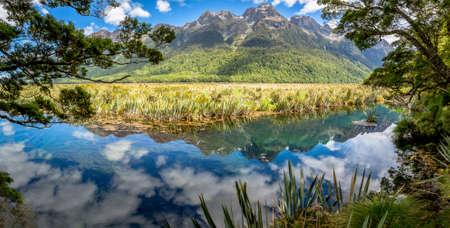 fiordland: Mirror Lake at Fiordland National Park, The South Island