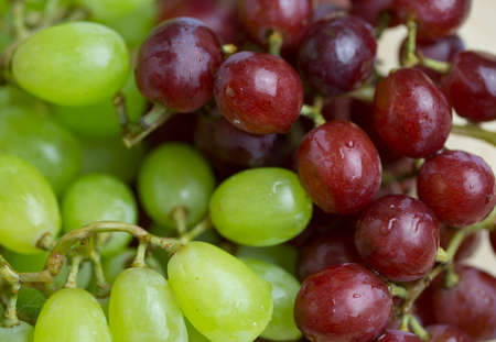 fresh red and green grapes close up
