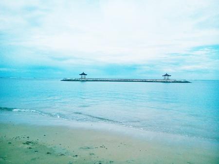bali beach: Bali Beach and Pagoda  Stock Photo