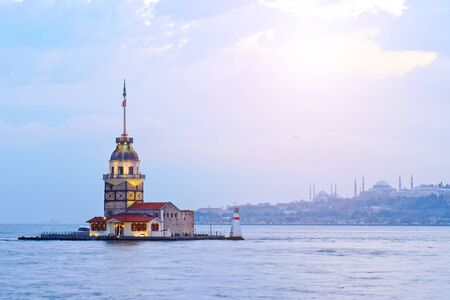 Maidens tower or kulesi old lighthouse at Istanbul in Turkey