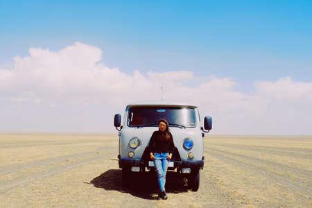 Tourist at gobi desert with Russia van at gobi desert Mongolia