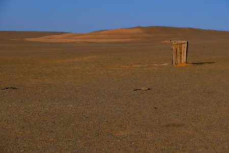 Nomad toilet with Panoramic view Mongolian at gobi desert national park of Mongolia