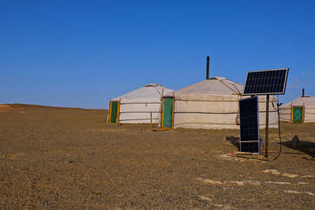 Mongolia yurt with Solar cell at Gobi desert at Mongolia. Editorial