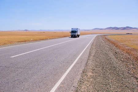 Long road to gobi desert at Mongolia .