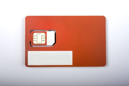 sim: Blank Red SIM Card (Logo and details removed)
