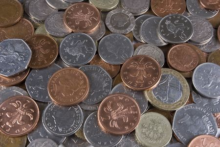 coinage: A pile of random used UK coinage