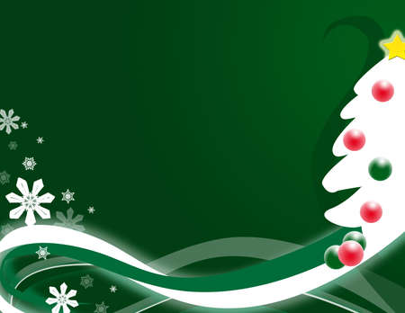 Green background with stylized Christmas tree and abstract swirls