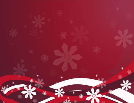 Red background with snowlakes and abstract swirls